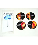4 Vintage 2006 A SCANNER DARKLY Button PINS & 1 Hair Bobby Pin Keanu Reeves - $7.99