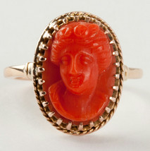 "Ladies Beautiful Vintage 1940's 14k Yellow Gold ""AAA"" Coral Cameo Ring S... - $750.00"