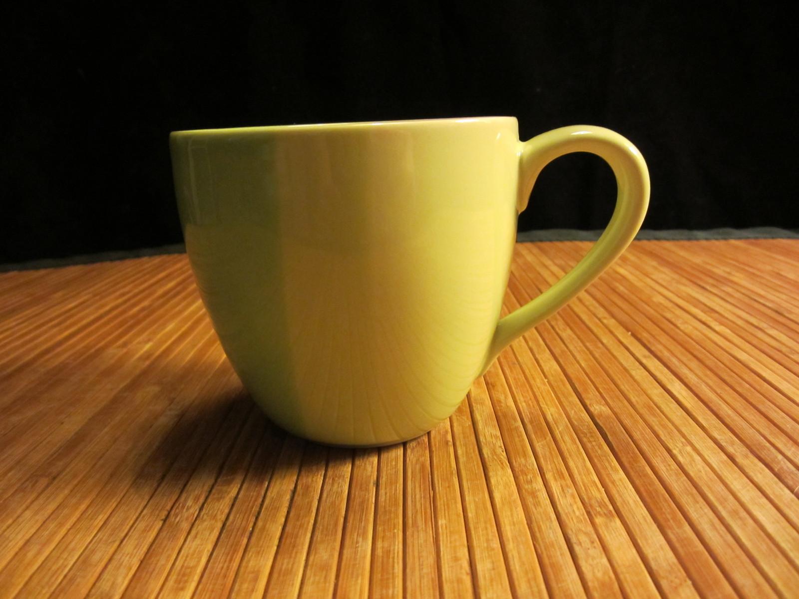 2005 Starbucks 3 Shades of Green Stripes Coffee Mug Tea Cup