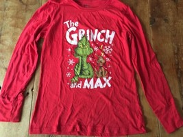 Grinch And Max T-Shirt Small Dr Seuss Christmas 12-14 Long Sleeve - $12.82