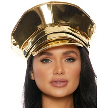 Metallic Vinyl Military Cop Hat Shiny Police Officer Authority Costume 9... - $38.69