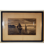 "Antique 11"" Pencil Drawing Sketch Seascape With Sailboats Shore View  - $94.99"