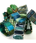 Bracelets Lot Bangles Blues and Greens Mod Boho Retro stretch chunky - $24.70