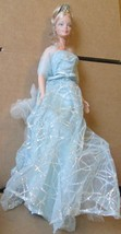 Pretty CE BARBIE Doll Blonde hair updo with crown dressed blue glitter gown - $49.99
