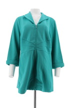 Dennis Basso Pique Knit 3/4 Slv Zip Front Top Wing Miami Green 1X NEW A2... - $31.66