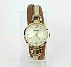 Fossil Womens Watch Analog Brown Gold Leather Band ES3410 Stainless Steel  - $38.18
