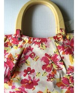 Old Navy Purse New Flowered Handbag Canvas White Pink Yellow Wood Handle... - $25.69