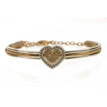 Swarovski J-Nina Cupid Heart Silver Gold Tone Crystals Oval Bangle Bracelet - $153.45
