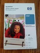 1 Pack 60 Count Genuine HP Premium Photo Paper 4 x 6 Glossy 9mil Q1989A NIP - $8.86