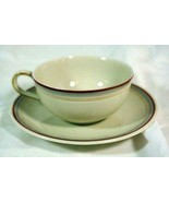 Hutschenreuther Gelb Truvel Shape 3 Color Bands Cup And Saucer Set - $6.29