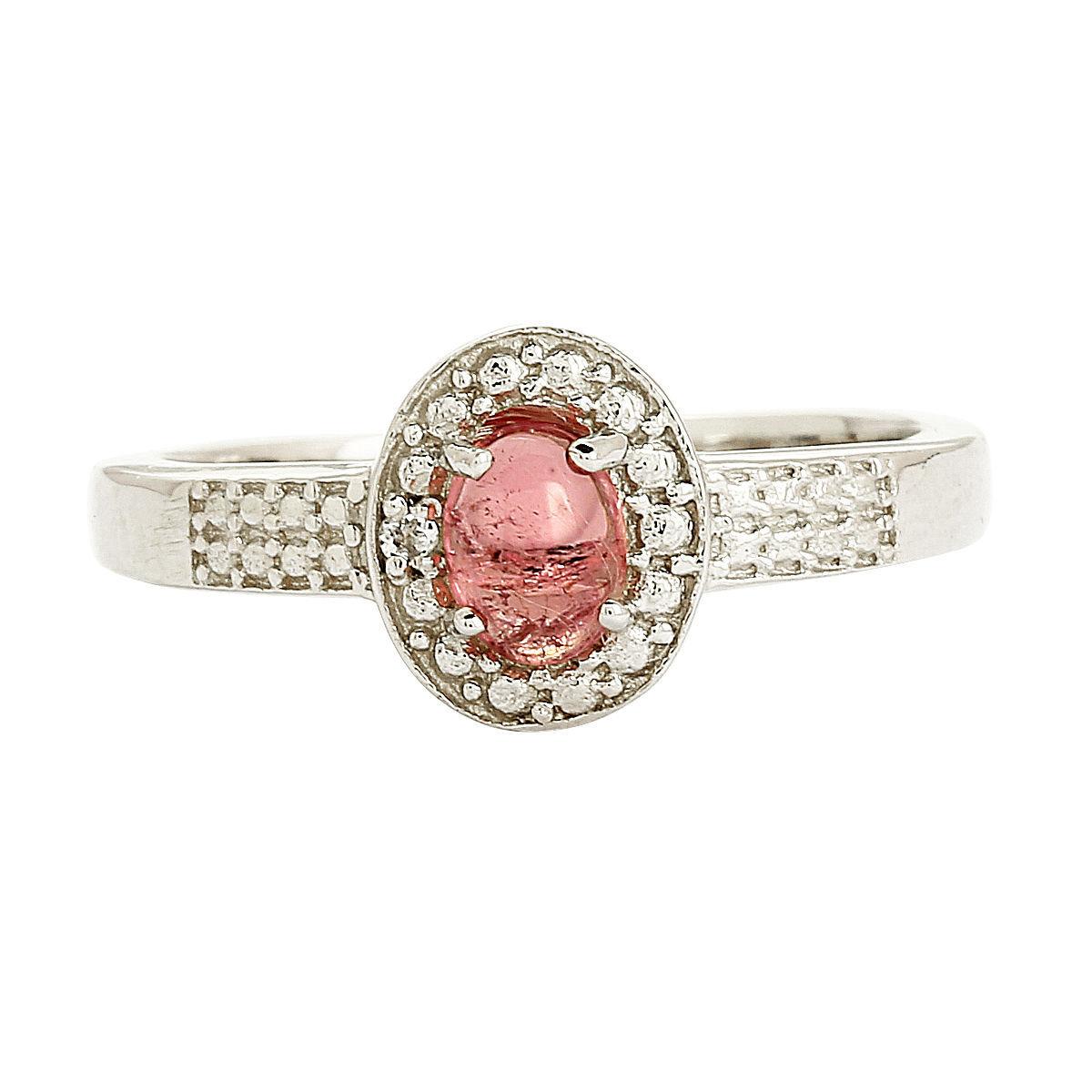925 Sterling Silver Pink Tourmaline White Topaz Ring Jewelry Sz 6.5 SHRI0207