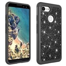 Google Pixel 3 2018 Case Luxury Glitter Bling Hybrid Heavy Duty Cover Black - $18.60