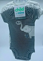 Carters Child of Mine Baby Boy 3 Pack Short Sleeve Black/Gray/White Bodysuits NB - $12.86
