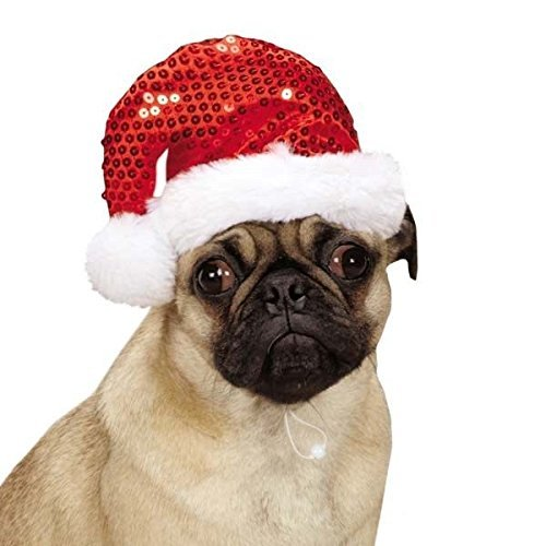 Red Sequin Santa Hats for Dogs Christmas Holiday Spirit Sequins Dog Hat With Fur