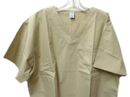 CHC Classix XL Khaki Solid V Neck Left Chest Pocket Scrub Top Unisex New - $17.61