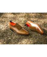Handmade men's New Brown Leather Suede Shoes, Men's Lace up Brogue Fashi... - $159.97+