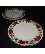 2 Gibson Designs Poinsettia  Christmas Holiday Salad Plates 9177709 Red ... - $25.73