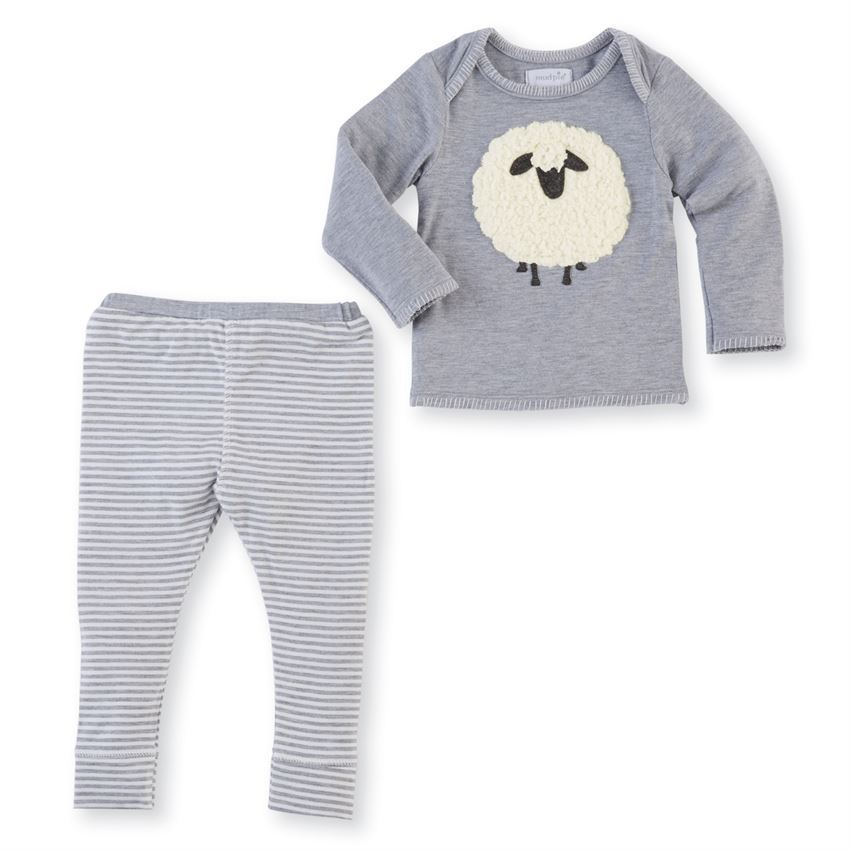 Mud Pie Baby Boy Sheep Two Piece Outfit Size 6-9 Months NEW - $21.95