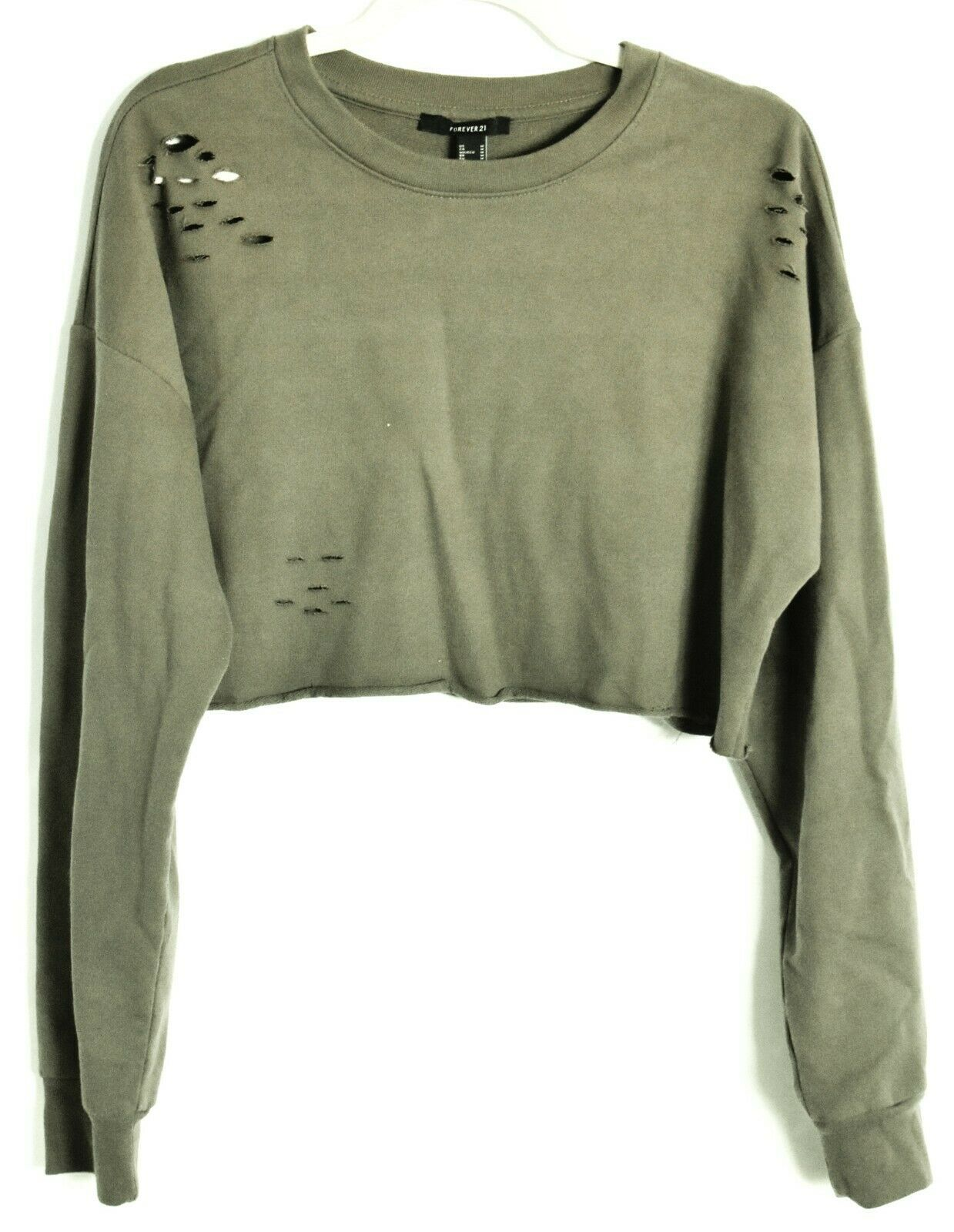 Forever 21 Olive Green Cut Slashed Distressed Holes Long Sleeve Cropped Top Sz M