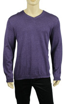 NEW MENS CALVIN KLEIN V NECK PURPLE EXTRA FINE MERINO WOOL PULLOVER SWEATER - $28.99