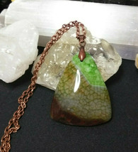 Necklace, Green Quartz Dragon Vein Pendant Copper Chain Natural Stone Women Men  image 2