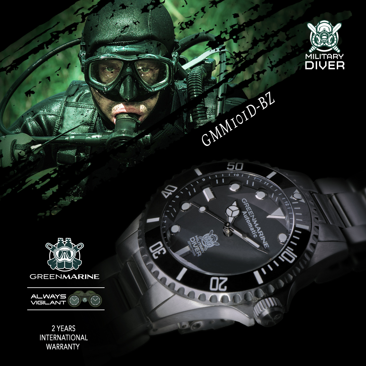 Green Marine Watches Automatic 300m Military Diver Edition GMM101D-BZ