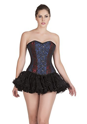 Primary image for Red Blue Black Brocade Goth Burlesque Corset Waist Training Bustier Overbust Top