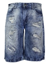 Brooklyn Xpress Men's Relaxed Fit Ripped Distressed Destroyed Jean Denim Shorts image 2