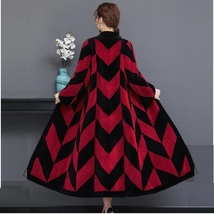 Luxury Long Red And Black V Neck Chevron Design Lamb Shearling Sheepskin Coat