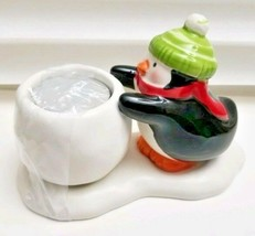 Hallmark  Candle Holder ~ Penguin W Snowball +Tea Light Candle - $15.23