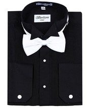 New Berlioni Italy Men's Premium Tuxedo Dress Shirt Wingtip Collar Bow-Tie Black