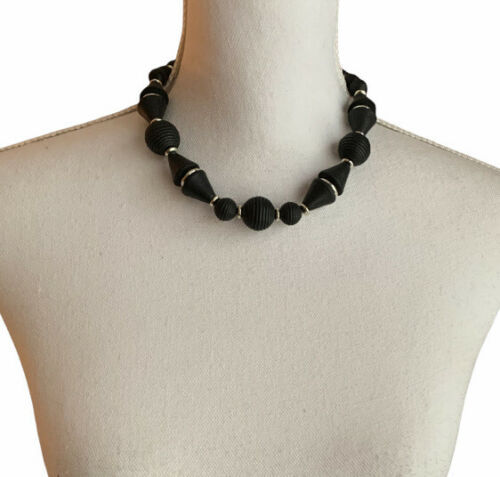 Vintage Choker Necklace Chunky Black Wood and Silver Tone Beaded  - $12.86