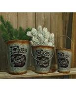 Farmhouse Christmas 3/Set, Lump-A-Coal Buckets Floral Decor Gift Sets Santa - $57.99