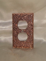 BLING ROSE GOLD BRONZE GLITTER 2 PLUG OUTLET COVER WALLPLATE W/ RHINESTONES - $13.95