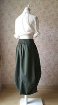 Army Green Long LINEN Skirt Outfit Summer Boho Skirt Army Green Asymmetric Skirt image 2