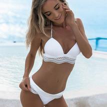 Women's Swimwear Bandage Bikini Set Pushup Padded Bra Ladies Bathing Beachwear
