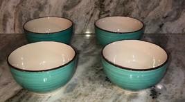 Set Of 4 Royal Norfolk Turquoise Swirl Stoneware Bowls-RARE-BRAND NEW-SHIP N 24H - $29.58