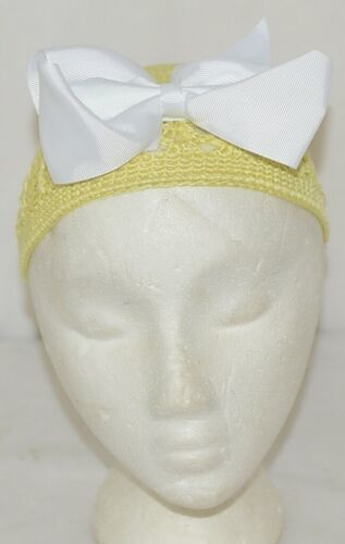 Unbranded Infant Toddler Hat Stretch Removable Bow Yellow White