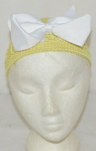 Unbranded Infant Toddler Hat Stretch Removable Bow Yellow White image 1