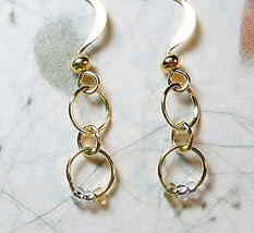 Gold Circle Dangle Earrings/ Infinity/ Golden Drop/ Minimalist/ Gold Ear... - $8.00