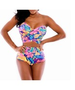 Women Triangle Sexy Hand Tied Up Bikini Floral Bandage Swimwear M Spar P... - $8.60
