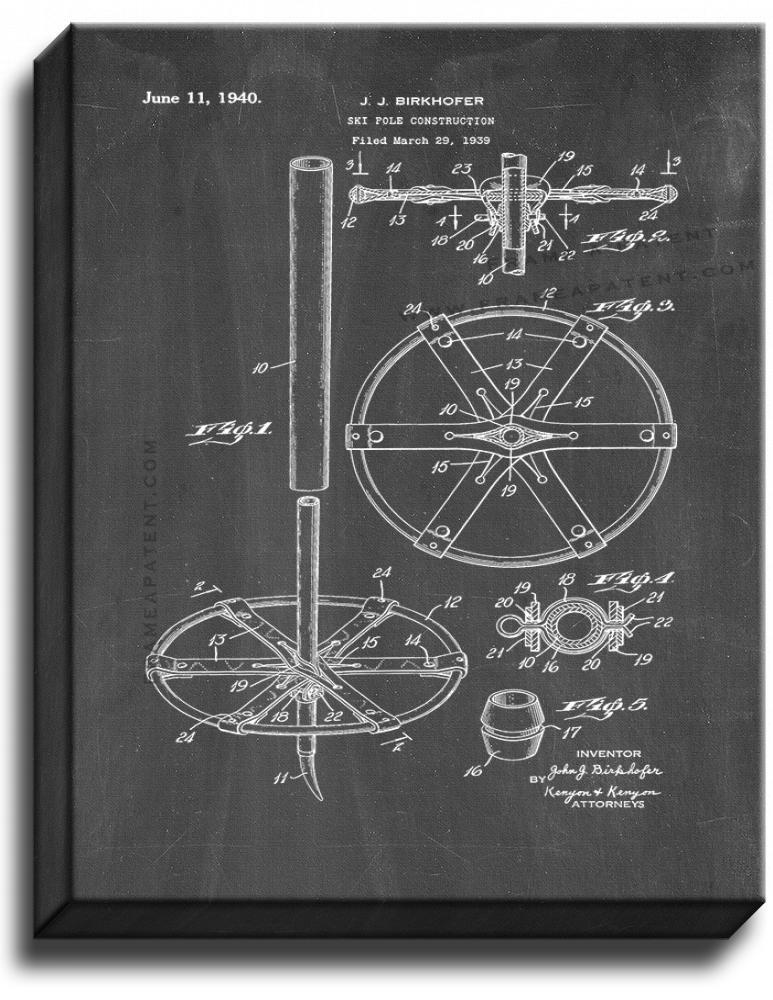 Primary image for Ski Pole Construction Patent Print Chalkboard on Canvas