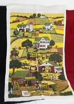 Vintage Tea Towel The OLD GRIST MILL Countryside Scene Wheat Barns Looks... - $5.22