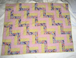 "Handmade Quilted Blanket Patchwork Lavender Yellow Butterfly Floral 34""x45"" - $29.39"