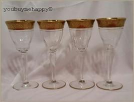 Set of 4  Tiffin-Franciscan Rambler Rose Clear Crystal Claret Wine Glass... - $64.35