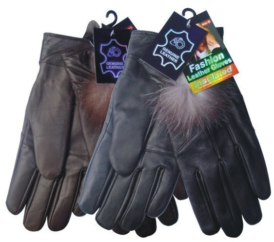 Case of [144] Women's Genuine Leather Winter Glove - Feather Detail