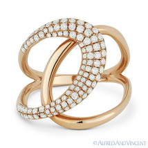 0.57 ct Round Cut Diamond Right-Hand Overlap Loop Fashion Ring in 14k Ro... - $1,275.00
