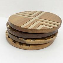 "Vintage MCM 4pc Round 3.5"" Wood & Brass Coasters Set Geometric Man Cave ... - $19.79"