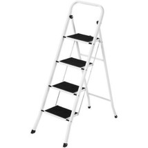 Portable Folding 4 Step Ladder Steel Stool 300lb Heavy Duty Lightweight - $54.90