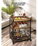 Bar Cart for Home Mobile Metal Wood Wine Cart on Wheels with Handle Rack - $230.00
